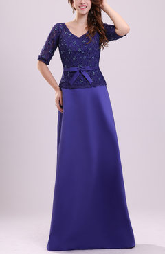 Modest V-neck Short Sleeve Backless Brush Train Prom Dresses