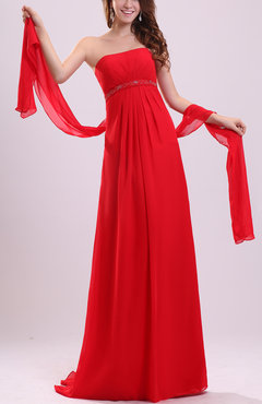 Red Simple Strapless Sleeveless Backless Chiffon Sweep Train Prom Dresses