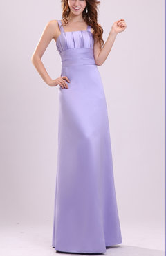 Lavender Plain Thick Straps Sleeveless Zip up Satin Evening Dresses
