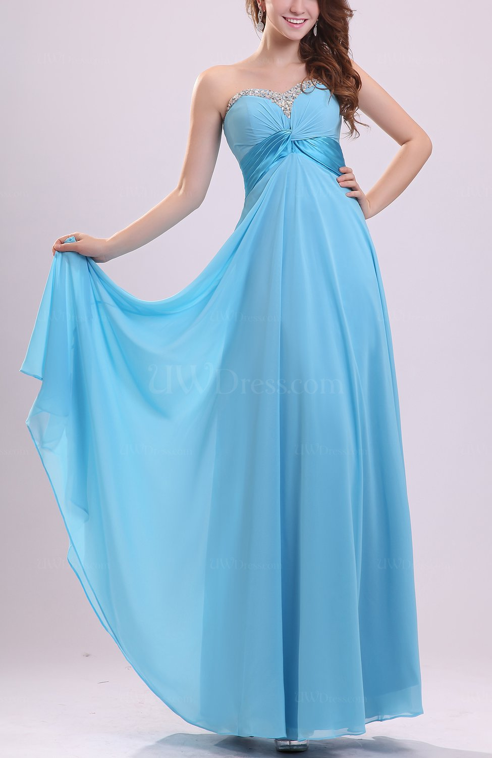 Light blue modern sweetheart sleeveless zipper chiffon for Modern wedding guest dresses