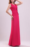 Modest V-neck Zip up Chiffon Floor Length Ribbon Evening Dresses