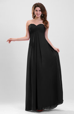 Black Elegant A-line Zipper Chiffon Floor Length Ruching Party Dresses