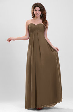 Brown Elegant A-line Zipper Chiffon Floor Length Ruching Party Dresses