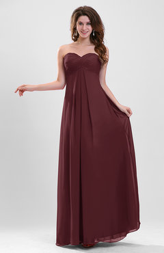 Burgundy Elegant A-line Zipper Chiffon Floor Length Ruching Party Dresses