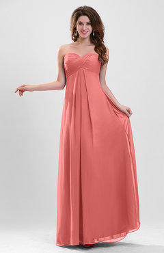 Coral Elegant A-line Zipper Chiffon Floor Length Ruching Party Dresses
