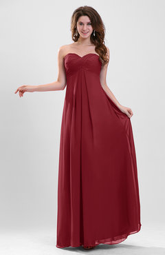 Dark Red Elegant A-line Zipper Chiffon Floor Length Ruching Party Dresses