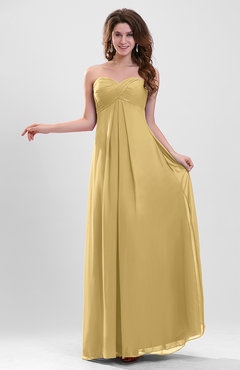Gold Elegant A-line Zipper Chiffon Floor Length Ruching Party Dresses