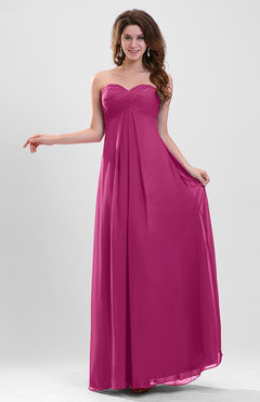 Hot Pink Elegant A-line Zipper Chiffon Floor Length Ruching Party Dresses