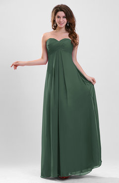 Hunter Green Elegant A-line Zipper Chiffon Floor Length Ruching Party Dresses