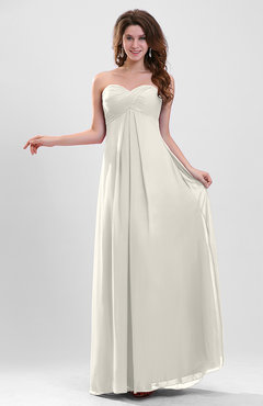 Ivory Elegant A-line Zipper Chiffon Floor Length Ruching Party Dresses