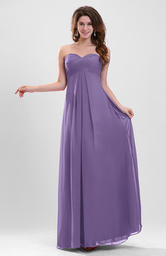 Lilac Elegant A-line Zipper Chiffon Floor Length Ruching Party Dresses