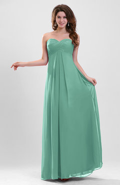 Mint Green Elegant A-line Zipper Chiffon Floor Length Ruching Party Dresses