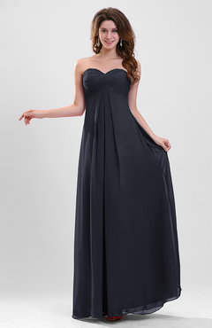 Navy Blue Elegant A-line Zipper Chiffon Floor Length Ruching Party Dresses