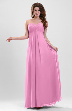 Pink Elegant A-line Zipper Chiffon Floor Length Ruching Party Dresses