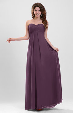 Plum Elegant A-line Zipper Chiffon Floor Length Ruching Party Dresses