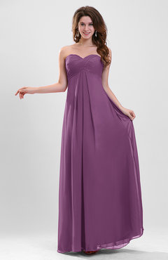 Raspberry Elegant A-line Zipper Chiffon Floor Length Ruching Party Dresses