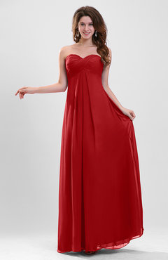 Red Elegant A-line Zipper Chiffon Floor Length Ruching Party Dresses