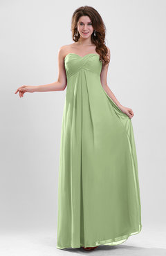 Sage Green Elegant A-line Zipper Chiffon Floor Length Ruching Party Dresses