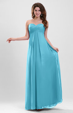 Turquoise Elegant A-line Zipper Chiffon Floor Length Ruching Party Dresses