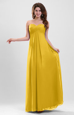 Yellow Elegant A-line Zipper Chiffon Floor Length Ruching Party Dresses