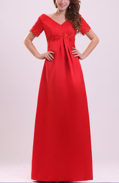 Red Mature A-line V-neck Short Sleeve Zip up Satin Mother of the Bride Dresses