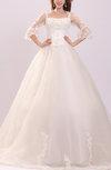 Disney Princess Garden Queen Anne 3/4 Length Sleeve Chapel Train Sequin Bridal Gowns