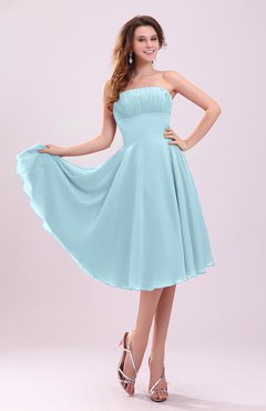 Aqua Simple A-line Sleeveless Backless Pleated Wedding Guest Dresses