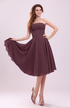 Burgundy Simple A-line Sleeveless Backless Pleated Wedding Guest Dresses