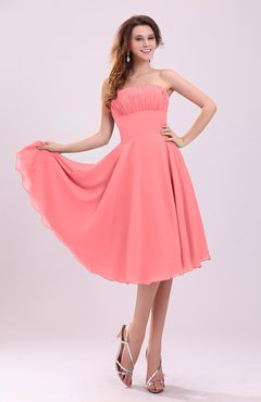 Coral Simple A-line Sleeveless Backless Pleated Wedding Guest Dresses