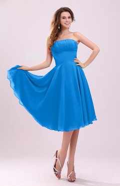 Cornflower Blue Simple A-line Sleeveless Backless Pleated Wedding Guest Dresses