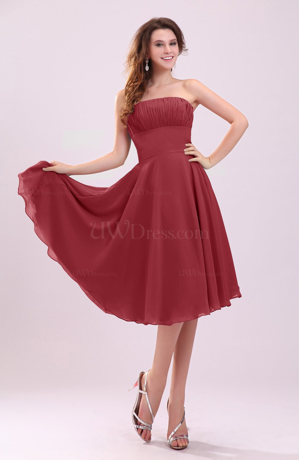 Dark Red Simple A Line Sleeveless Backless Pleated Wedding