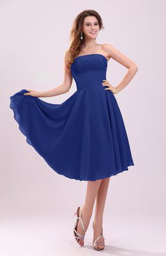 Electric Blue Simple A-line Sleeveless Backless Pleated Wedding Guest Dresses