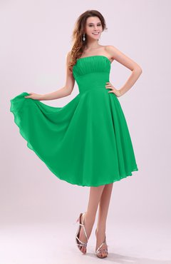 Green Simple A-line Sleeveless Backless Pleated Wedding Guest Dresses