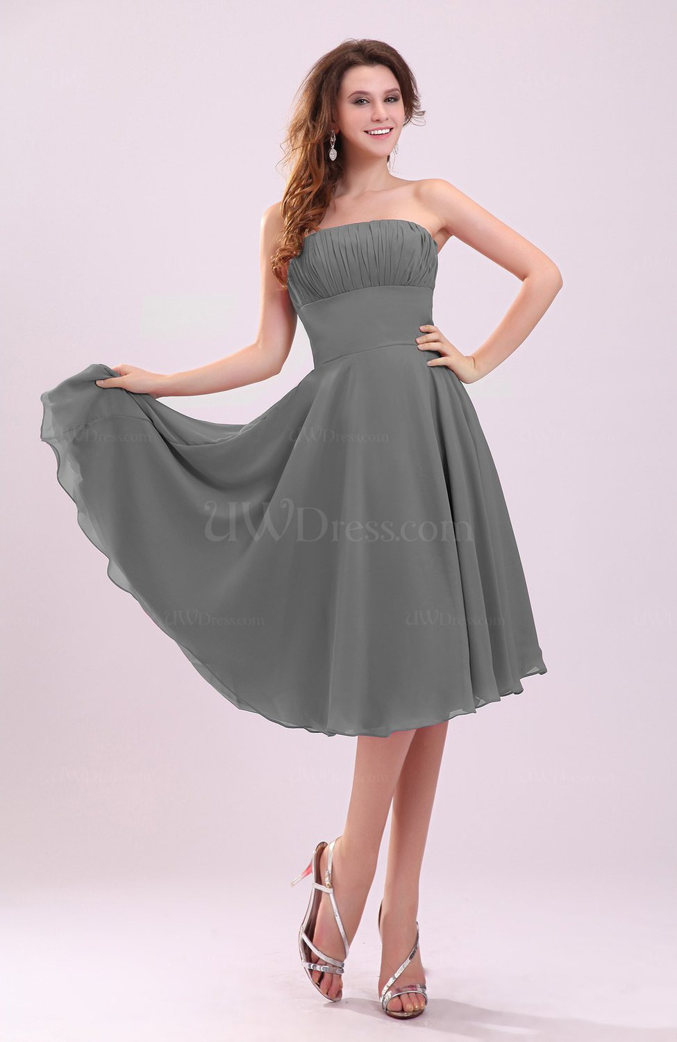 Grey Simple A Line Sleeveless Backless Pleated Wedding