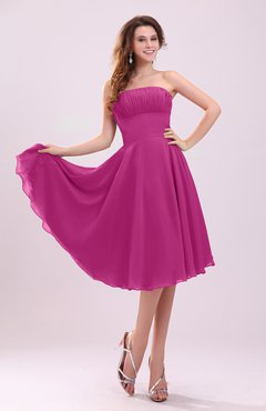 Hot Pink Simple A-line Sleeveless Backless Pleated Wedding Guest Dresses