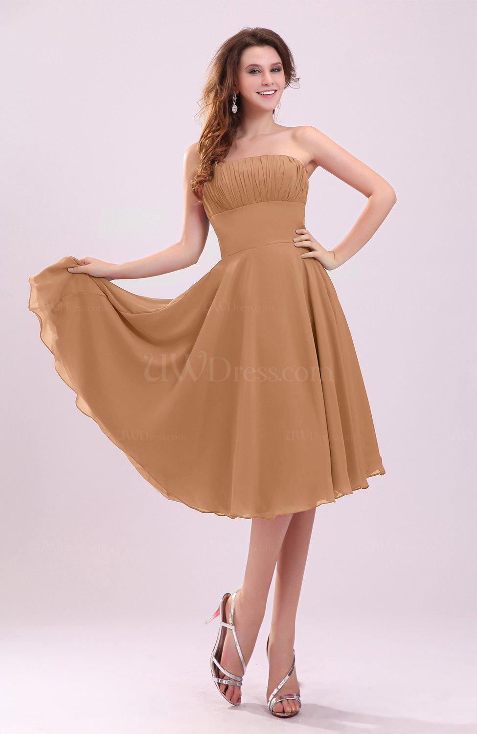 Light brown simple a line sleeveless backless pleated for Brown dresses for wedding guest