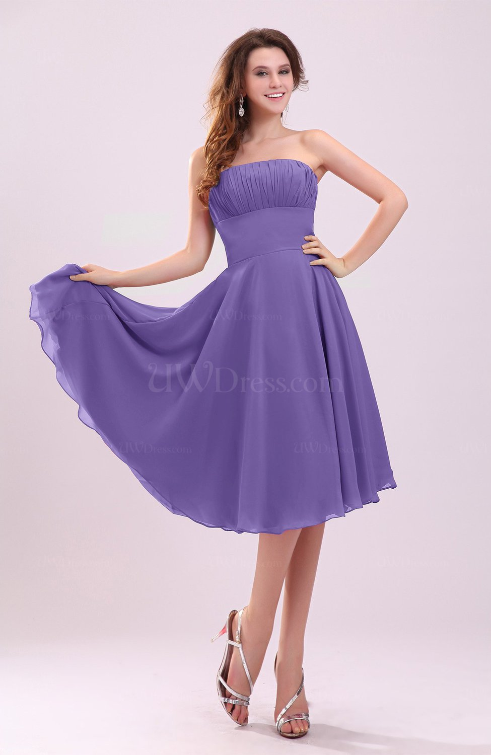 Lilac simple a line sleeveless backless pleated wedding for Lilac dress for wedding