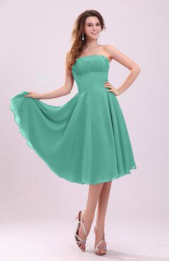 Mint Green Simple A-line Sleeveless Backless Pleated Wedding Guest Dresses