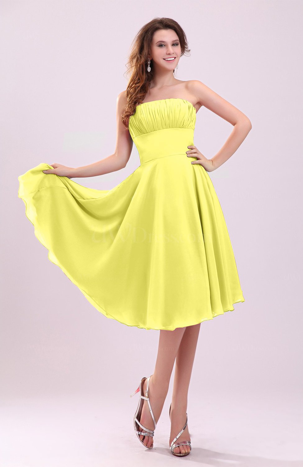Pale yellow simple a line sleeveless backless pleated for Yellow wedding guest dress