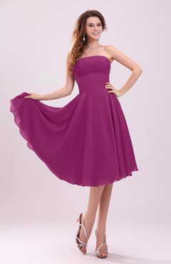 Raspberry Simple A-line Sleeveless Backless Pleated Wedding Guest Dresses