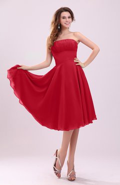 Red Simple A-line Sleeveless Backless Pleated Wedding Guest Dresses