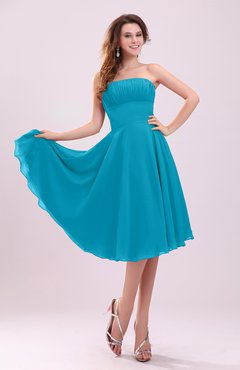 Teal Simple A-line Sleeveless Backless Pleated Wedding Guest Dresses