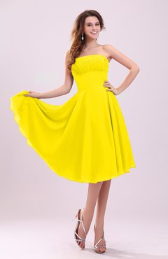 Yellow Simple A-line Sleeveless Backless Pleated Wedding Guest Dresses