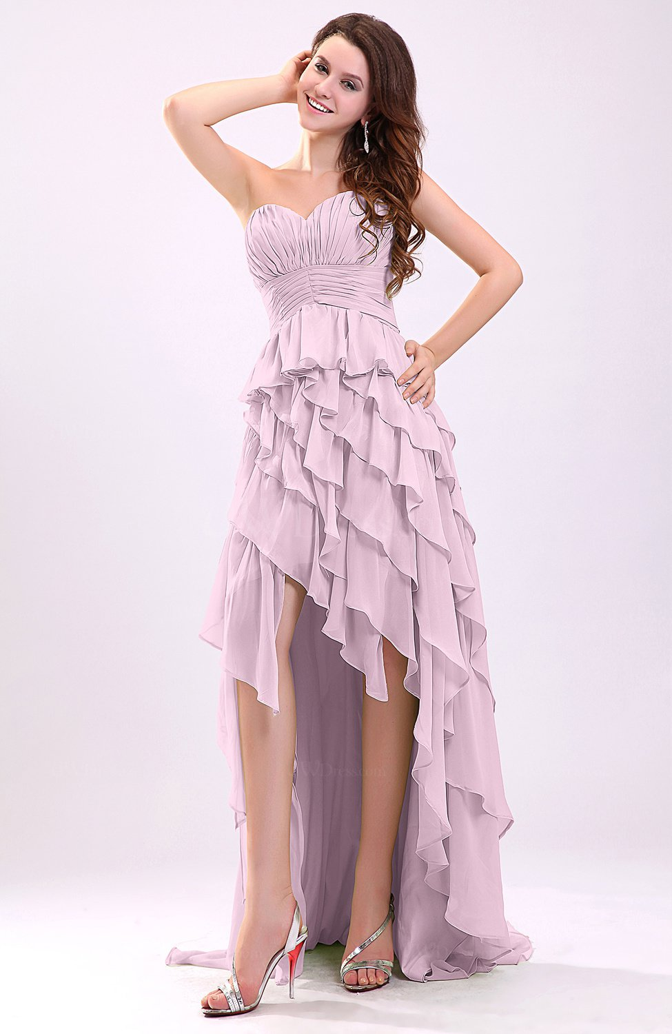 Baby Pink Gorgeous Sweetheart Lace up Chiffon Knee Length Wedding ...