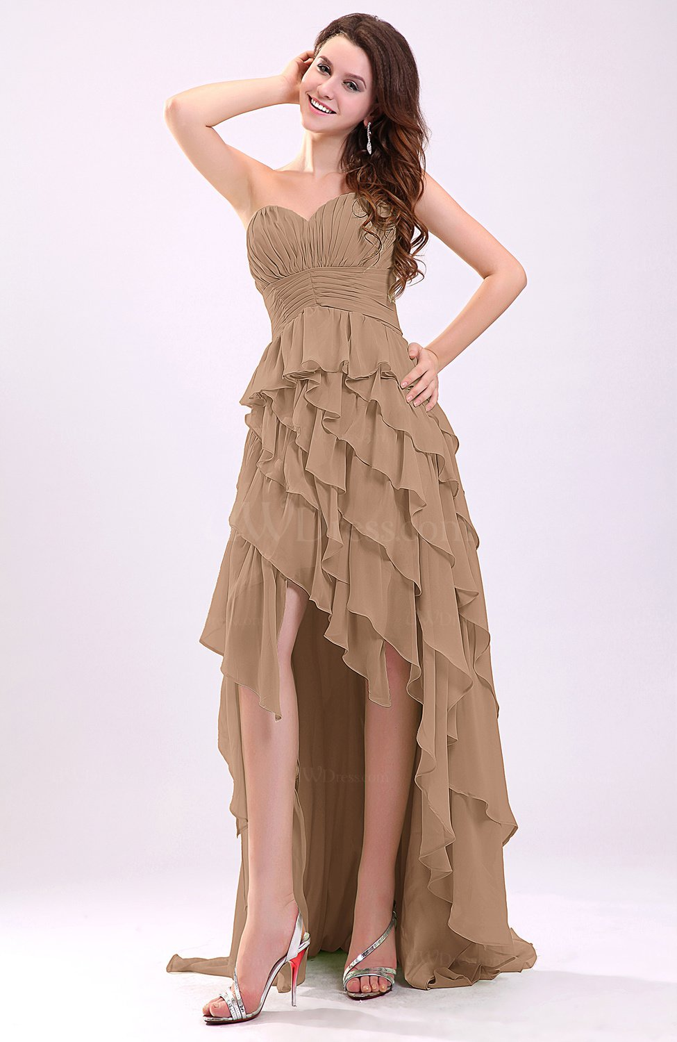 Light brown gorgeous sweetheart lace up chiffon knee for Brown dresses for wedding guest