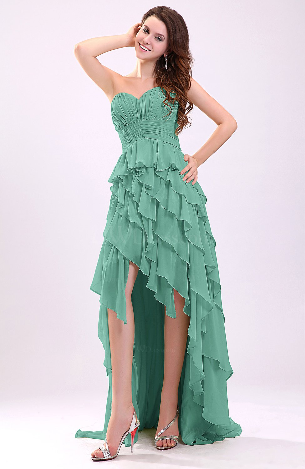 Mint green gorgeous sweetheart lace up chiffon knee length for Mint wedding guest dress