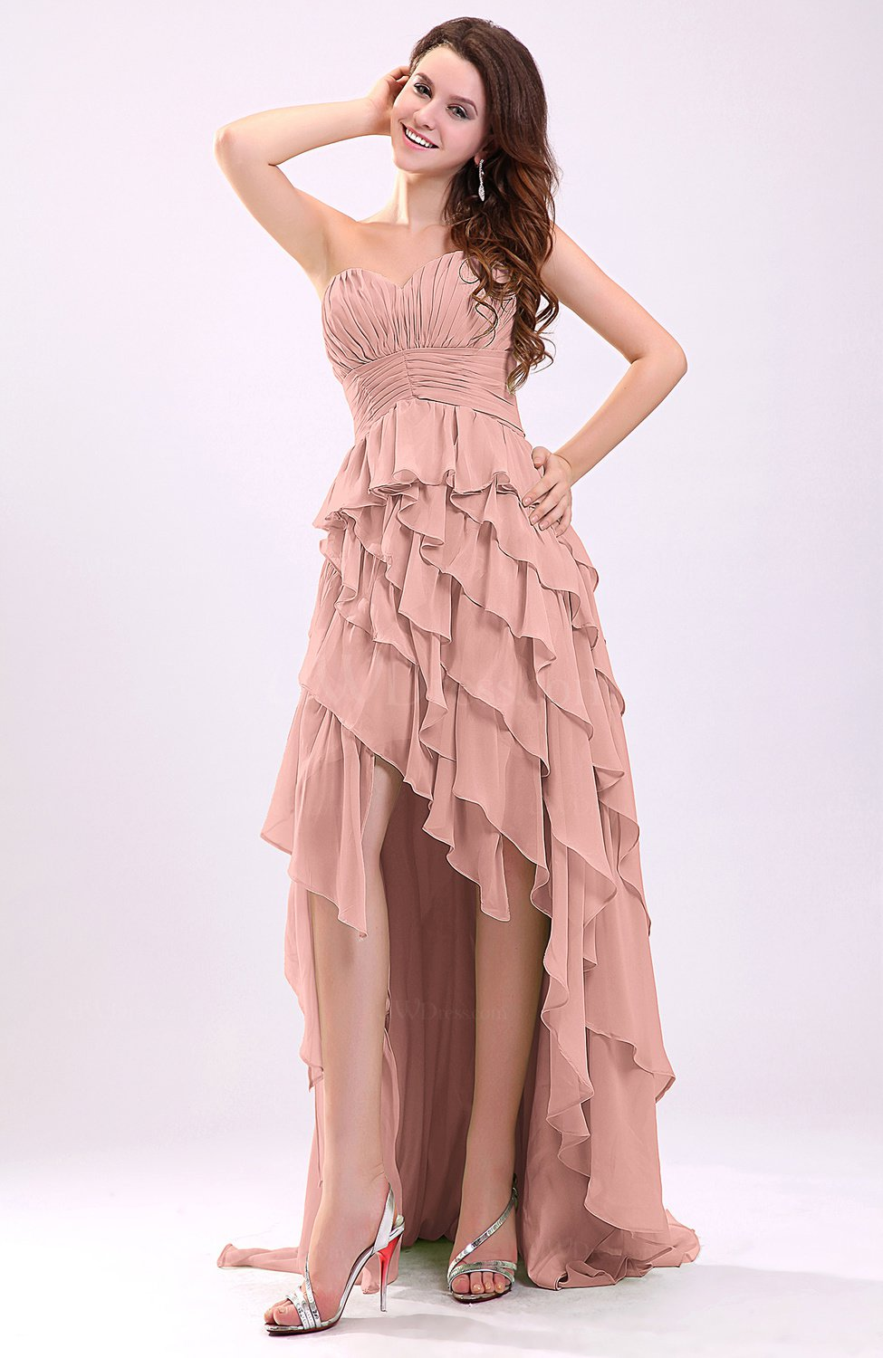 Peach Gorgeous Sweetheart Lace up Chiffon Knee Length Wedding Guest ...