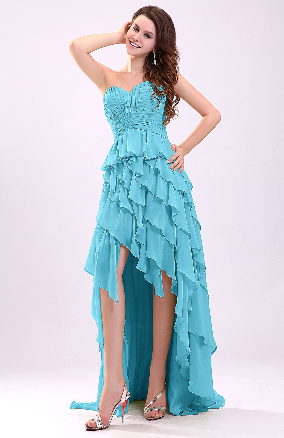 Turquoise gorgeous sweetheart lace up chiffon knee length for Turquoise wedding guest dress
