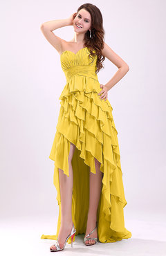 Yellow Gorgeous Sweetheart Lace up Chiffon Knee Length Wedding Guest Dresses