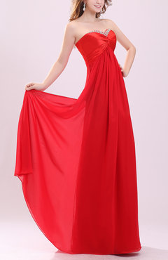 Red Elegant Column Sweetheart Sleeveless Chiffon Floor Length Prom Dresses